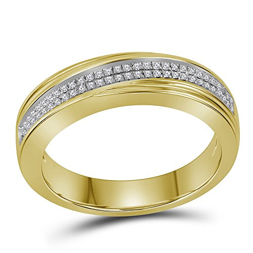 Size 8-10k Yellow Gold Mens Round Diamond Double Row cross over Wedding Band Anniversary Ring 1/5 ()
