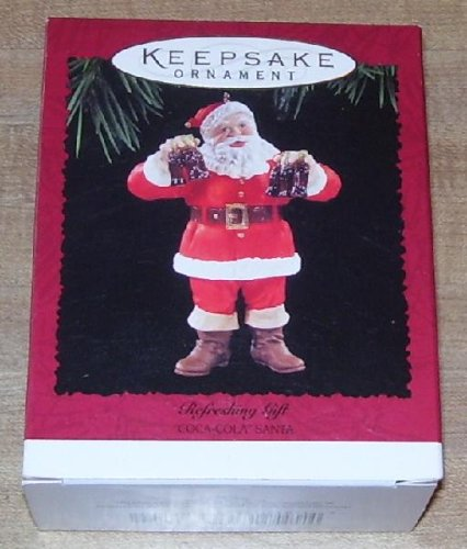 QX4067 Refreshing Gift Coca Cola Santa 1995 Hallmark Keepsake - Coca Decorations Cola Christmas