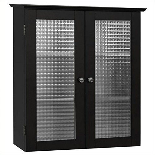 Elegant Home Fashions Chesterfield Wall Cabinet with Two Glass Doors