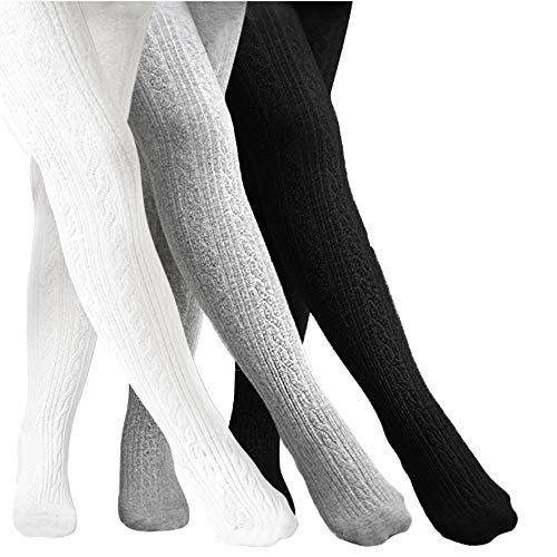 CozyWay Girls Cable Tights Cotton Cable Knit Footed Pantyhose Little Girls Toddler Leggings Seamless 2t 4t 6t 8t 10t