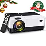 Wsky 2019 Best 2800 Lumens LCD LED Portable Home Theater Video Projector, 30000 Hours Support HD 1080P for Outdoor Movie Night, Family, Compatible with Phone, DVD Player, PS4, Xbox, HDMI, USB, SD