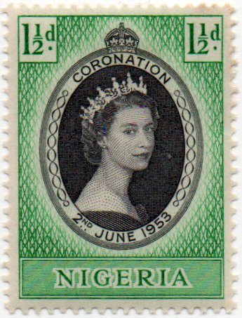 Nigeria Postage Stamp Single 1953 Queen Elizabeth II Coronation Issue 1 1/2 D Scott #79