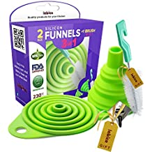 Silicone Foldable Funnel Set for Kitchen Liquid Transfer, 100% BPA-Free, 2 Sizes: Small and Big + 1 Brush + 1 Hook + Frozen Treats Recipes E-Book, By Lebice