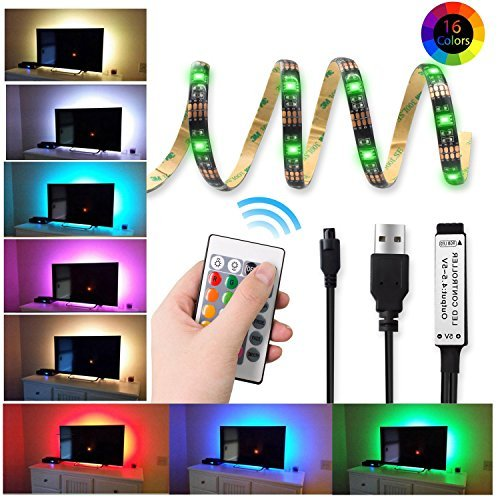 16 Colors USB LED Strip Light Flexible TV Bias Lighting Accessories Backlight RGB Lights 5V with Remote Control Multi Color Light 3.3ft