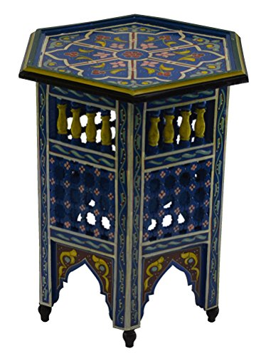 Moroccan Wood Side End Table Corner Coffee Handmade Hand Painted Moorish  Blue