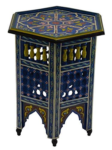 Hand Painted Wood Furniture - Moroccan Wood Side End Table Corner Coffee Handmade Hand Painted Moorish Blue
