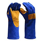 Luerme Leather Forge Welding Gloves Mitts for Oven/Grill/Fireplace/Furnace/Stove/Pot Holder/Tig Welder/BBQ Gloves with Extra Long Sleeve Outdoor Work Gloves Heat/Fire Resistant