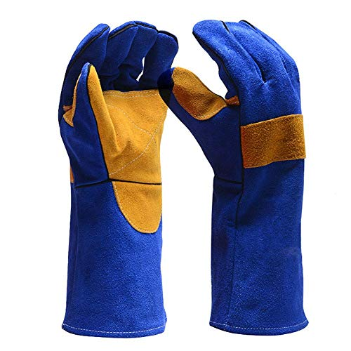 Luerme Leather Forge Welding Gloves Mitts for Oven/Grill/Fireplace/Furnace/Stove/Pot Holder/Tig Welder/BBQ Gloves with Extra Long Sleeve Outdoor Work Gloves Heat/Fire Resistant by Luerme