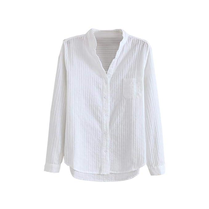 DEELIN Temperamento Moda De Las Mujeres OtoñO E Invierno con Cuello En V Camisa Blanca De
