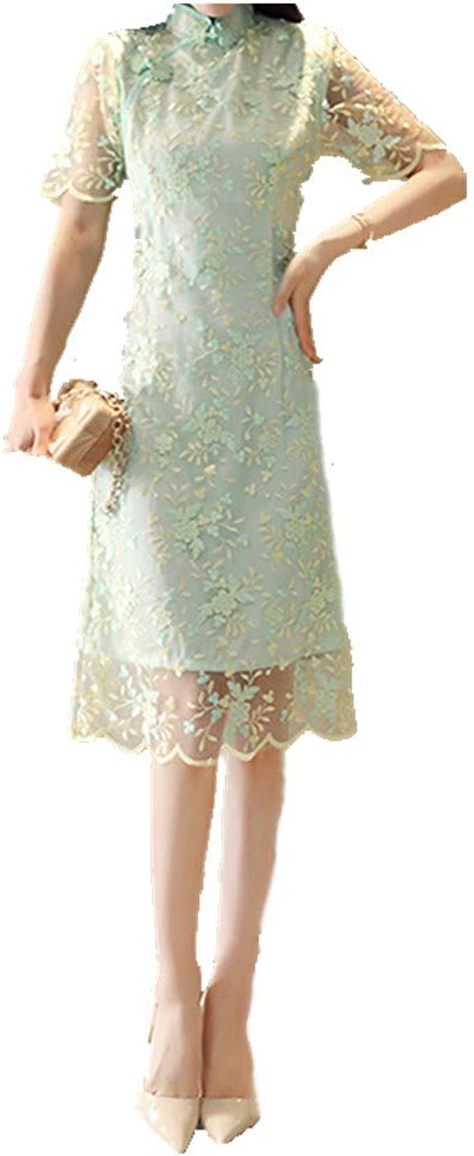 Nobrand Spring and Summer Improved Cheongsam Girl Retro Damen