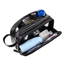 WODISON Large Capacity PU Leather Travel Toiletry Bag Dopp Kit For Men Black
