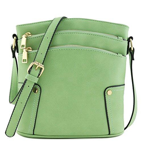 (Triple Zip Pocket Medium Crossbody Bag)