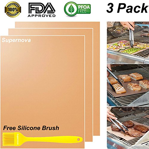 Supernova Copper Grill Mat Set of 3 - 100% Non-stick BBQ Grill & Baking Mats - FDA Approved, PFOA Free, Easy to Clean and Reusable - As Seen on TV - 1575 x 13 Inch