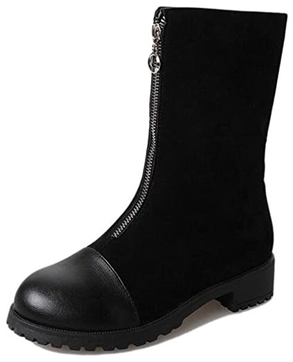 Women's Stylish Spliced Low Chunky Heels Round Toe Mid Calf Riding Boots With Front Zipper