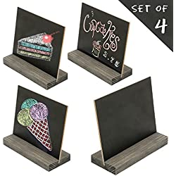 5 X 6 Inch Mini Tabletop Chalkboard Signs with Vintage Style Wood Base Stands, Set of 4