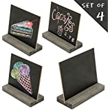 MyGift 5 X 6 Inch Mini Tabletop Chalkboard Signs with Vintage Style Wood Base Stands, Set of 4