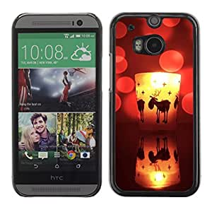 YOYO Slim PC / Aluminium Case Cover Armor Shell Portection //Christmas Holiday Cute Deer Candle 1152 //HTC One M8