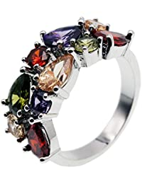 Multi Gemstone Ring Morganite Garnet Amethyst Promise Wedding Party for Girls Women