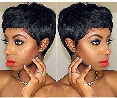 Short Human Hair Wig for Black Women,Gluless Pixie Wigs, Boy Cut Wig Summer Style (4