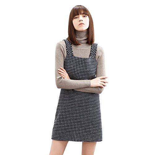 Houndstooth Women Overalls Skirt Dress Pocket Camisole Vest Dress Skirt SIZE: S (Dress Pinafore)
