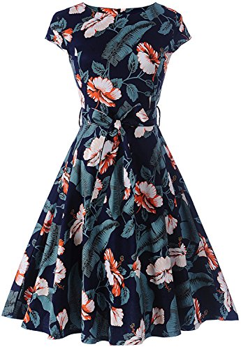 Womens 1950s Vintage Short Sleeve Floral Print Swing Tea Party Prom Dress With Belt C66(Navy Blue XL) (Circle Womens Cap)