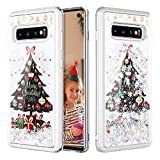 Caka Christmas Case for Galaxy S10 Glitter Case Bling Shinning Liquid Christmas Silver Liquid Luxury Fashion Quicksand Floating Soft TPU Girls Women Phone Case for Samsung Galaxy S10 (Tree)