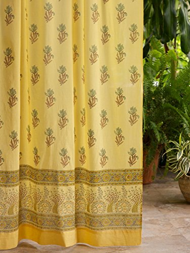 Waltz of the Vines (CP)~ Yellow Floral Summer Beach Curtain Panel (Inspiration Sisal Rug)