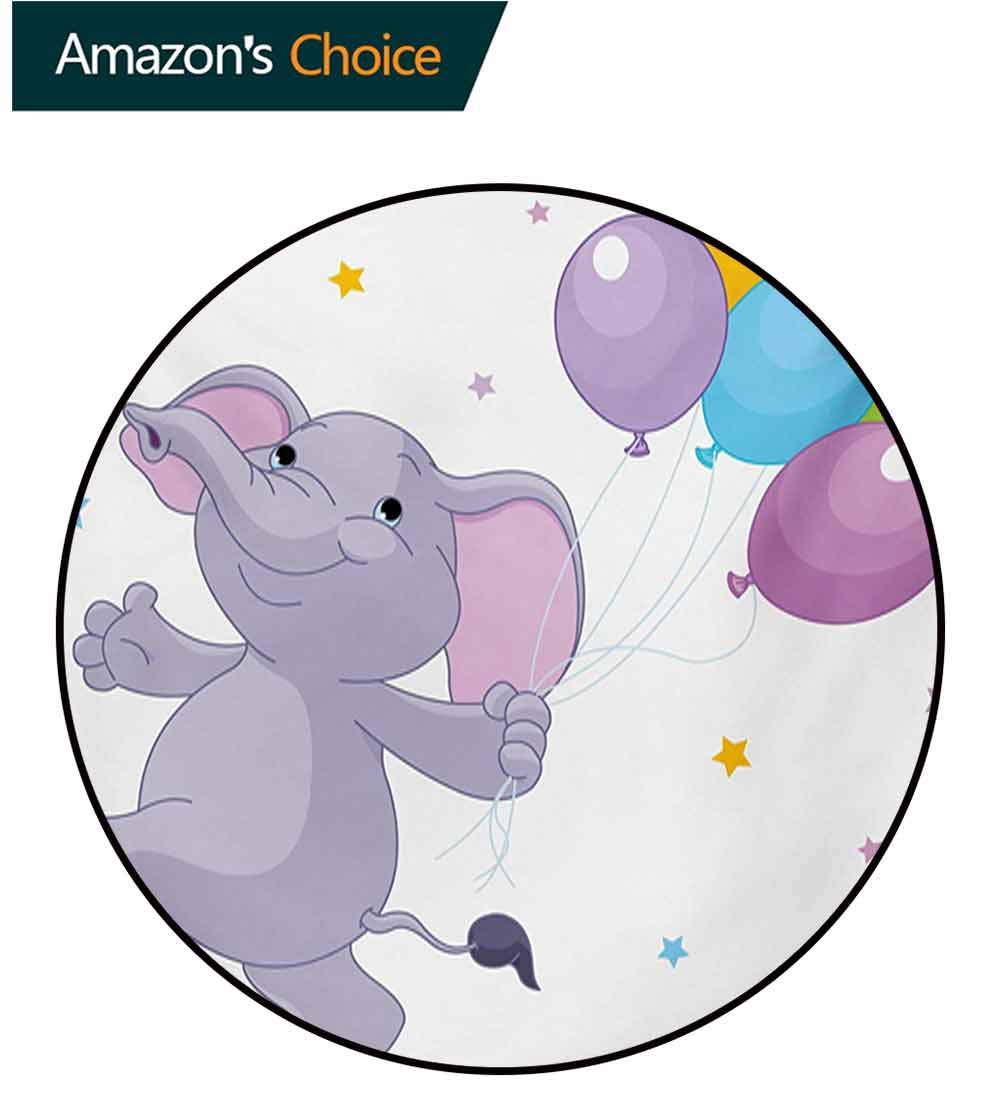 RUGSMAT Nursery Round Kids Rugs,Happy Elephant with Colorful Balloons and Stars Cheerful Fun Kids Cartoon Learning Carpet Non Skid Nursery Kids Area Rug for Playroom,Round-47 Inch