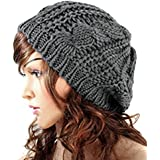 JOVANA New Arrival Top Fashion Winter Warm Women Lady Yong Girls Baggy Beret Chunky Knit Knitted Braided Beanie Hat Ski Cap Crochet Knitted Hat Knitted Crochet Oversized Slouch Hat for Women (Dark Grey