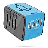 International Power Adapter, All-in-One Universal Travel Charger Adapter 4 USB AC Socket Worldwide Wall Outlet Plugs UK, US, AU, EU, Asia-Blue