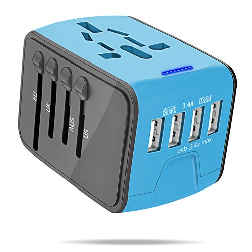 International Power Adapter, All-in-One Universal Travel Charger Adapter 4 USB AC Socket Worldwide Wall Outlet Plugs UK, US, AU, EU, Asia-Blue by YVELINES