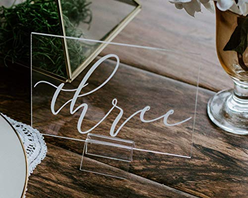 Acrylic Table Number Sign With Stands, Clear Glass Look Perspex Modern Calligraphy Wedding Numbers Lucite Minimalist or Rustic Table Sign