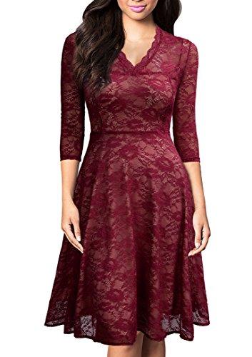 Mmondschein Women Vintage 1930s Black Lace A-Line Party Swing Evening Dress (XL, Lace-Burgundy)