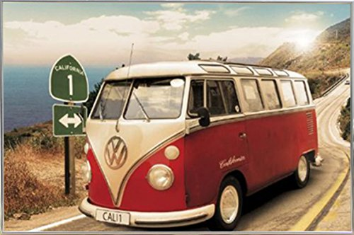 California Camper Route One Poster in a Silver Metal Frame