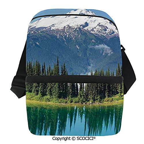 SCOCICI Reusable Insulated Grocery Bags Lake and Snowy Glacier Peak in Washington USA Tall Pine Tree Forest Thermal Cooler Waterproof Zipper Closure Keeps Food Hot Or Cold ()