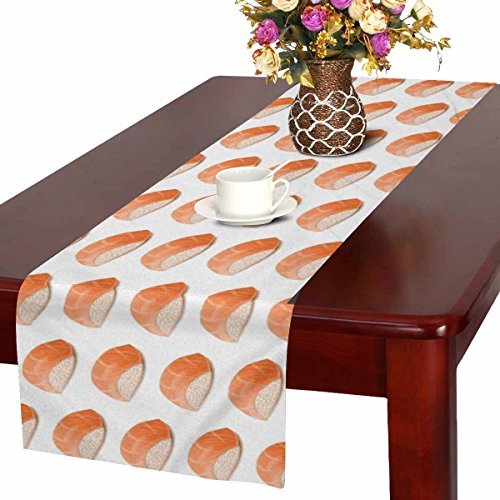 - InterestPrint Salmon Sushi Funny Japanese Food Table Runner Cotton Linen Cloth Placemat Home Decor for Home Kitchen Dining Wedding Party 16 x 72 Inches