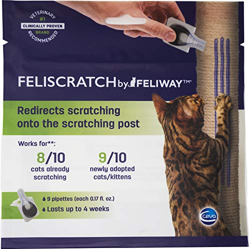 Feliscratch by Feliway Cat Scratch Attractant for Scratching Post/Tree, Prevents Cat from Scratching Furniture (9 Pipettes)