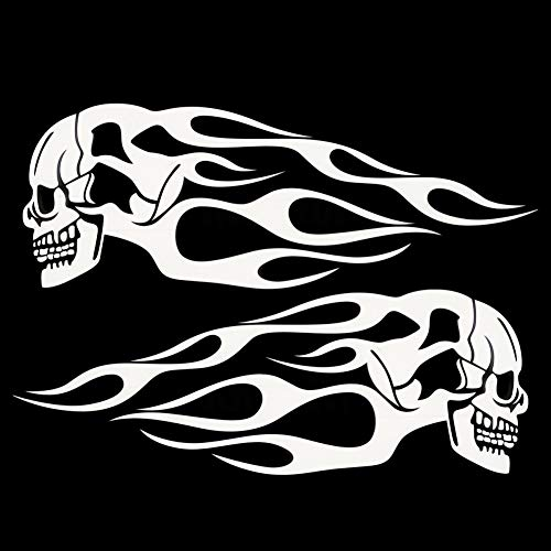 scgtpapadc 2Pcs Motorcycle Stickers Gas Fuel Oil Tank Skull Flame Badge Decal