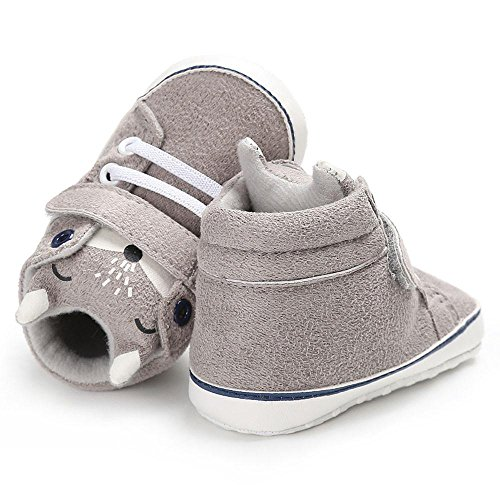 MuSheng Weiche Sohle Hausschuhe Krabbelschuhe Babyschuhe Kleinkind Karikatur für Baby Jungen Grau