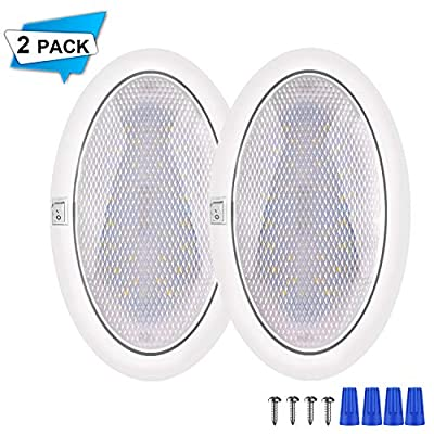 Twinto 12V LED RV Ceiling Dome Light, Car Interior Lighter with On/Off Switch Natural White 4000-4500K for Travel Trailer Camper Boat (2 Pack): Sports & Outdoors