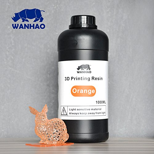 Wanhao 22346  Impresora 3d UV Resin, 1000  ml, color naranja 1000 ml