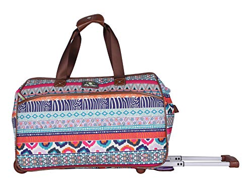 Blooms Stripe - Lily Bloom Luggage Designer Pattern Suitcase Wheeled Duffel Carry On Bag (14 in, Tribal Stripe Cream)