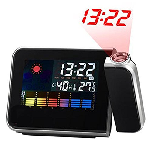 Projection Clock, Digital Projection Alarm Clock with Temperature Weather Station, Indoor/Outdoor Thermometer, Dimmable LCD Display, USB Charging, Dual Alarm by Twilight time