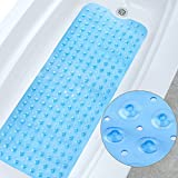 Eanpet Bath Mat Tub Anti-Slip Bath Tub Mat Kids Shower Mat Large Extra-Long Tub Shower Mats Machine Washable Anti Bacterial Latex Phthalate Free Rubber Bath(39'' L x 16'' W, Clear Blue)