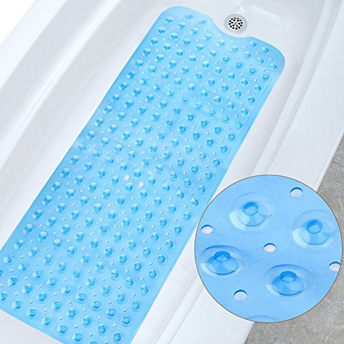 Eanpet Bath Mat for Tub Anti-Slip Bath Tub Mat for Kids Shower Mat Large Extra-Long Tub Shower Mats Machine Washable Anti Bacterial Latex Phthalate Free Rubber Bath Mat (39'' L x 16'' W, Clear Blue) by Eanpet