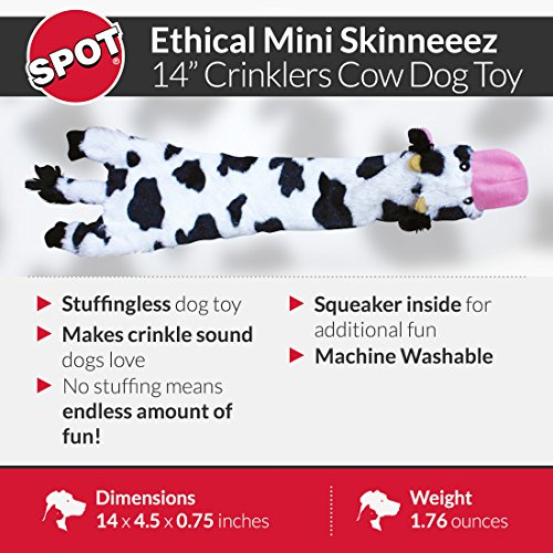 SPOT Skinneeez Crinklers | Stuffless Dog Toys with Squeaker For Small Dogs | Crinkle Toy For Small Puppies | 14 | Cow Design | By Ethical Pet