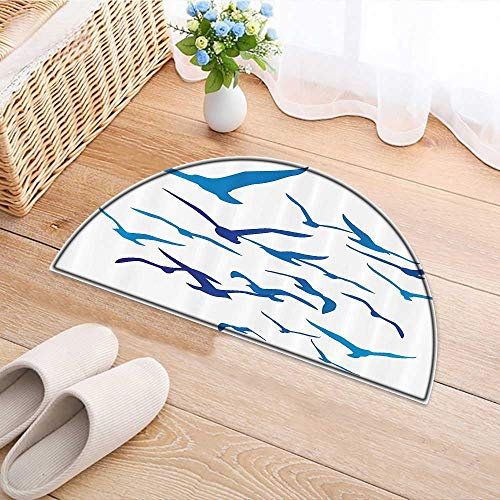 Anti-Skid Area Rug Silhouettes Pige Dove Crow Freedom Ornate Wild Nature Space Flap Home Decor Area Rug W39 x H28 (Skids Mud Flap)