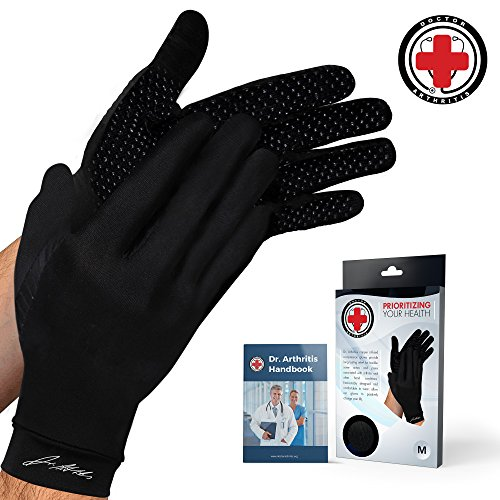 Doctor Developed Copper Gloves/Compression Gloves For Arthritis (full-length) AND DOCTOR WRITTEN HANDBOOK— Relieve Arthritis Symptoms, Raynauds Disease & Carpal Tunnel (M) ()