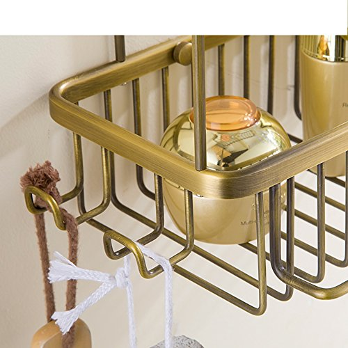 free shipping HUIJNJIY Bathroom Shelf (Perforated),Copper Shower Shelf,Kitchen Storage Basket,Corner Shelf,Shower blue.