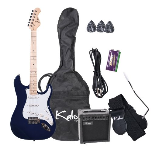 Kalos EGP-JBL 39-Inch Electric Guitar with 15-Watt Amp, Gig Bag, 3 Picks, Strap, Amp Cable, and Tremolo Arm – Full Size – Jewel Blue